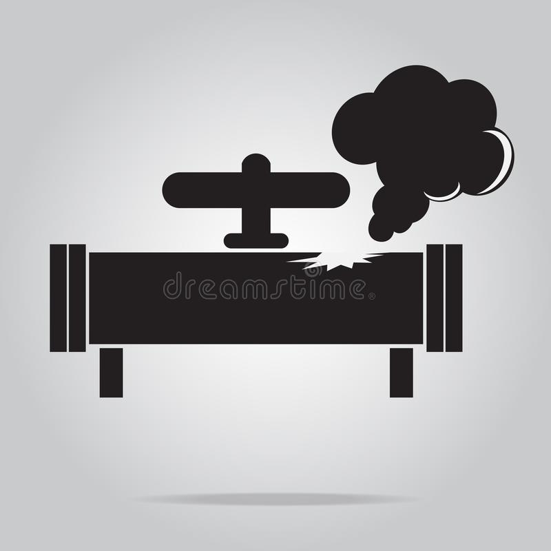 Icona del tubo della fuga di gas Segno dell'icona del tubo di gas di inquinamento illustrazione vettoriale