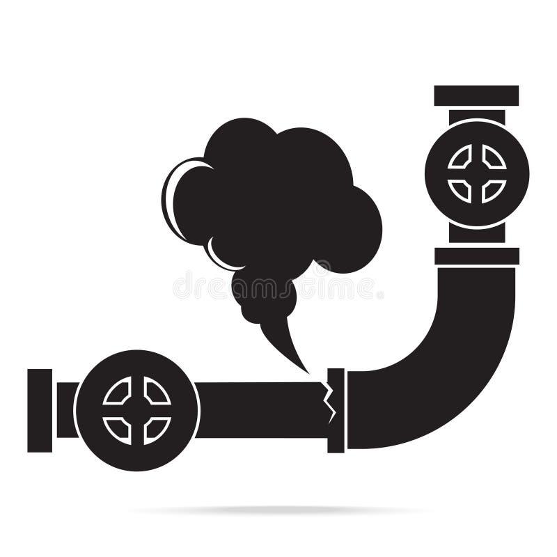 Icona del tubo della fuga di gas Segno dell'icona del tubo di gas di inquinamento illustrazione di stock