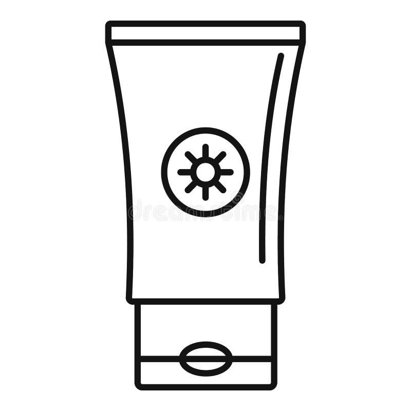 Icona del tubo della protezione solare, stile del profilo illustrazione vettoriale