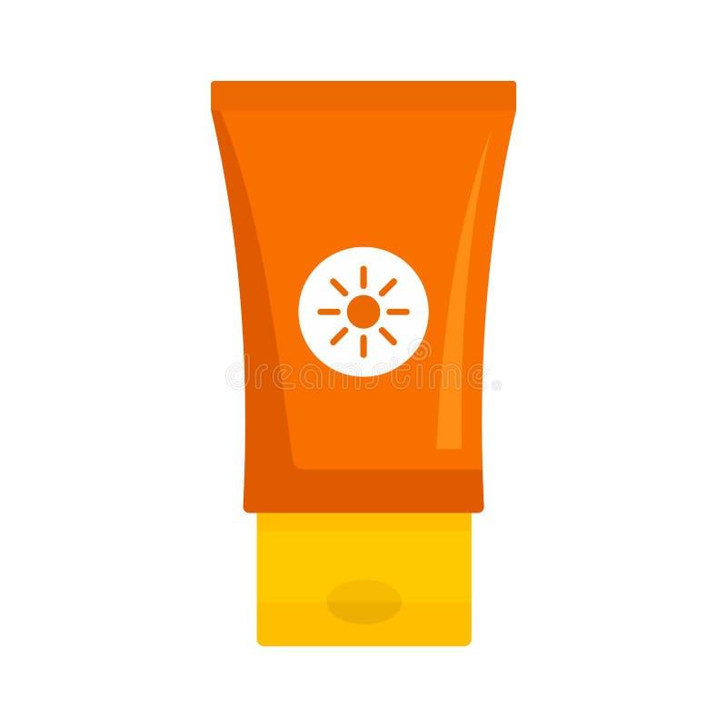 Icona del tubo per la protezione solare, stile piatto illustrazione di stock