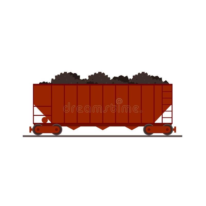Icona del vagone del treno del carbone illustrazione di stock