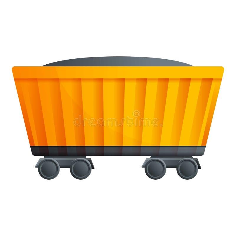 Icona del vagone del treno del carbone, stile del fumetto illustrazione di stock