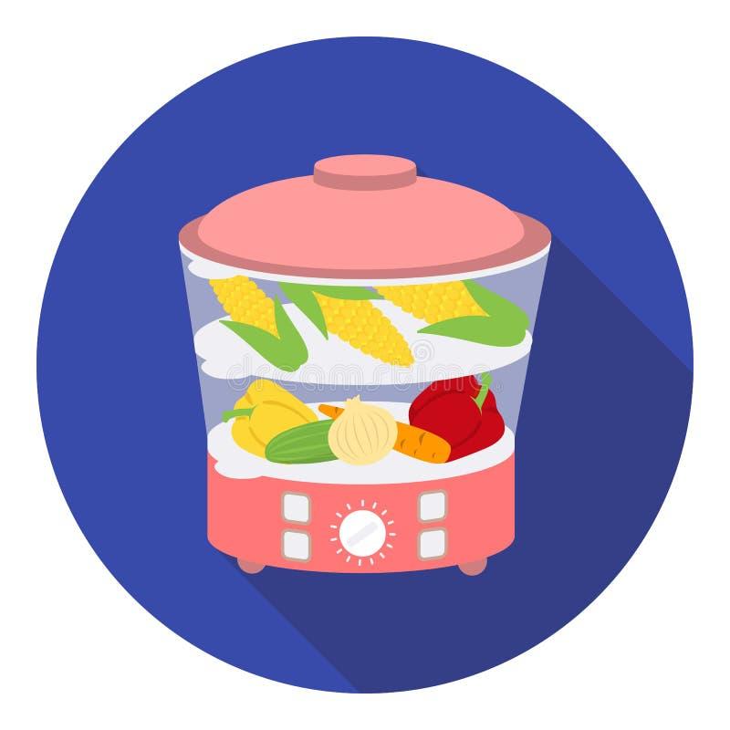 Icona del vapore dell'alimento nello stile piano su fondo bianco Illustrazione di vettore delle azione di simbolo dell'elettrodom illustrazione vettoriale