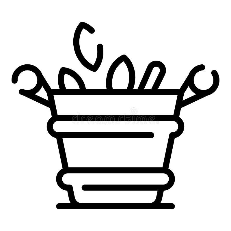 Icona del vaso di fiore della stazione termale, stile del profilo illustrazione vettoriale