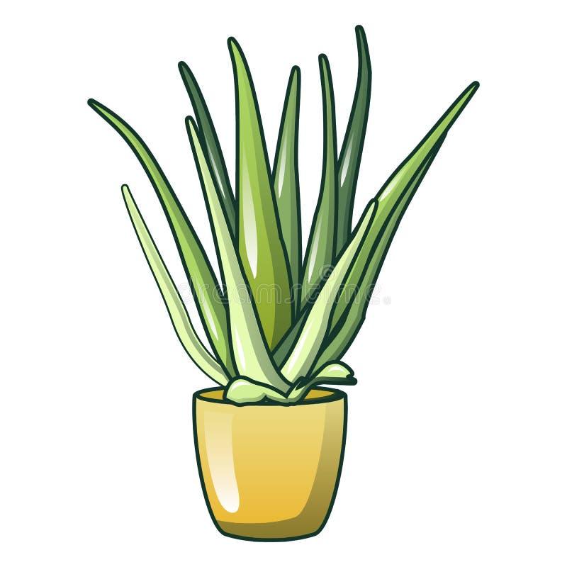 Icona del vaso di vera dell'aloe, stile del fumetto royalty illustrazione gratis
