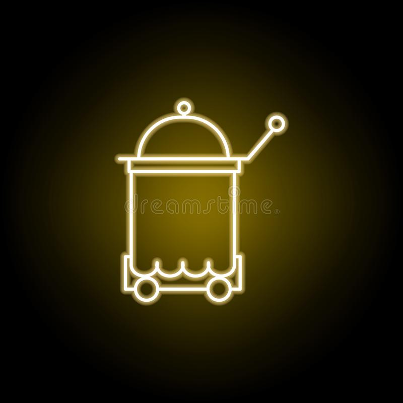 icona del vassoio di servizio in camera nello stile al neon I segni ed i simboli possono essere usati per il web, logo, app mobil illustrazione di stock