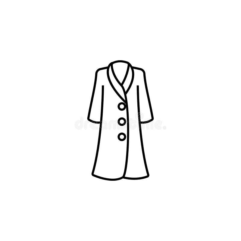 Icona del vestito dalla donna dei vestiti del cappotto Elemento dell'icona dei vestiti per i apps mobili di web e di concetto Lin illustrazione vettoriale