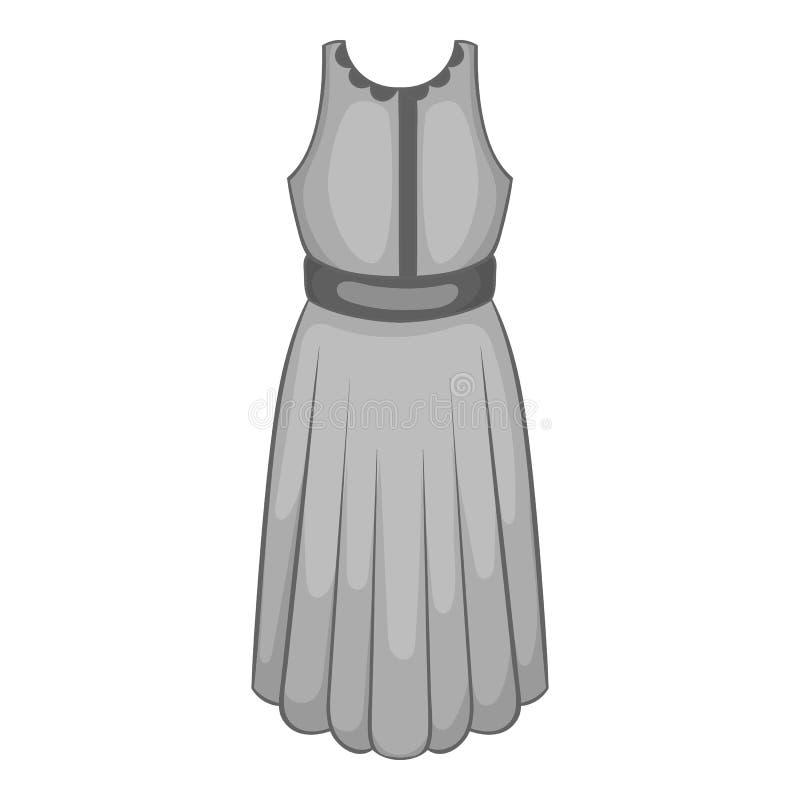 Icona del vestito delle donne, stile monocromatico nero royalty illustrazione gratis