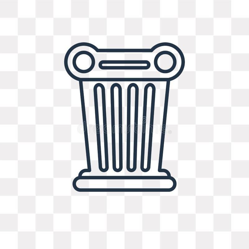 Icona del vettore colonna isolata su fondo trasparente, Co lineare royalty illustrazione gratis