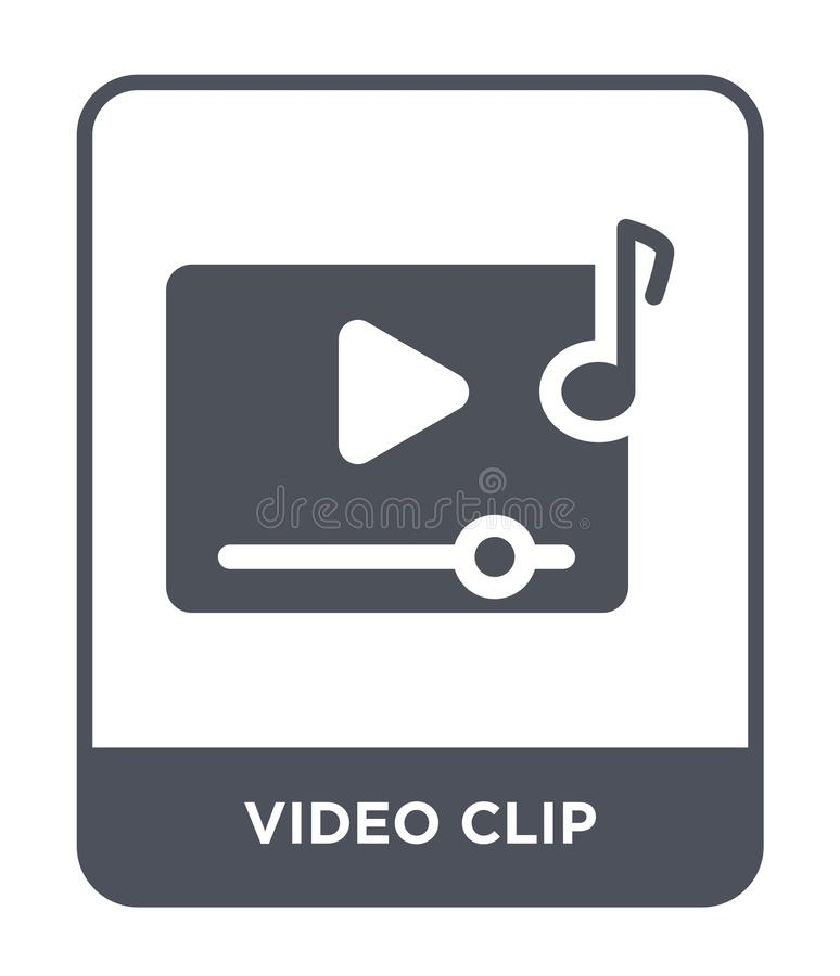 icona del videoclip nello stile d'avanguardia di progettazione icona del videoclip isolata su fondo bianco icona di vettore del v royalty illustrazione gratis