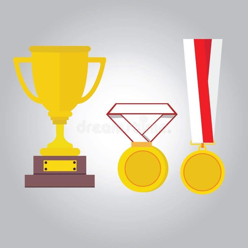 Icona del vincitore del trofeo del nastro delle medaglie dell'illustrazione di vettore dell'oro della medaglia piana illustrazione di stock