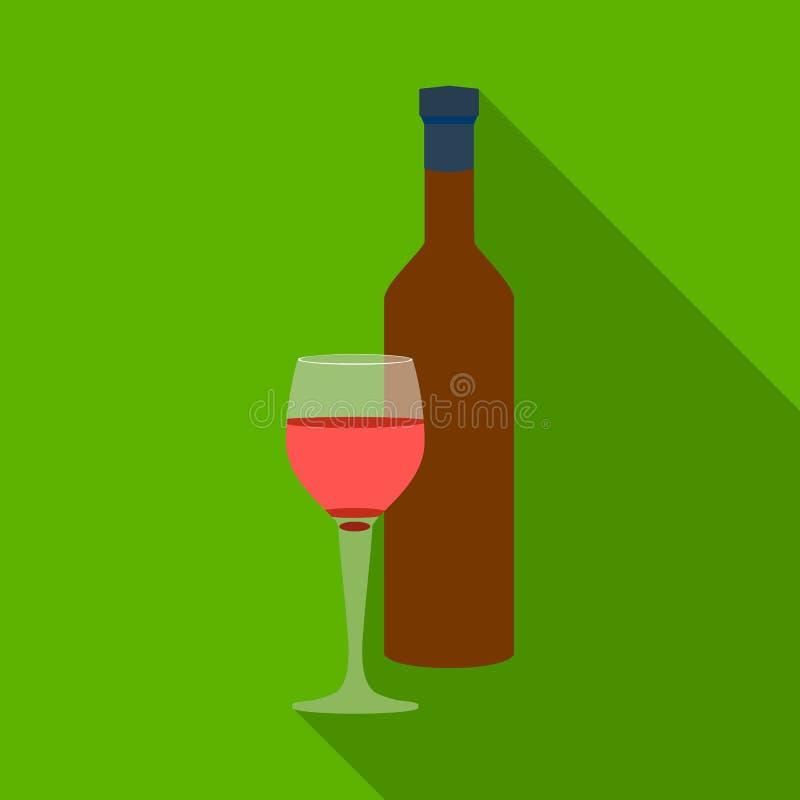 Icona del vino rosso nello stile piano isolata su fondo bianco Illustrazione di vettore delle azione di simbolo della Grecia illustrazione vettoriale