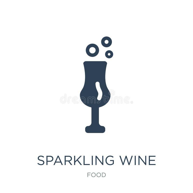 icona del vino spumante nello stile d'avanguardia di progettazione icona del vino spumante isolata su fondo bianco icona di vetto illustrazione vettoriale