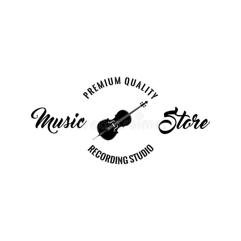 Icona del violino Emblema di logo dello storelabel di musica Simbolo dello strumento musicale Qualità di premio Vettore royalty illustrazione gratis