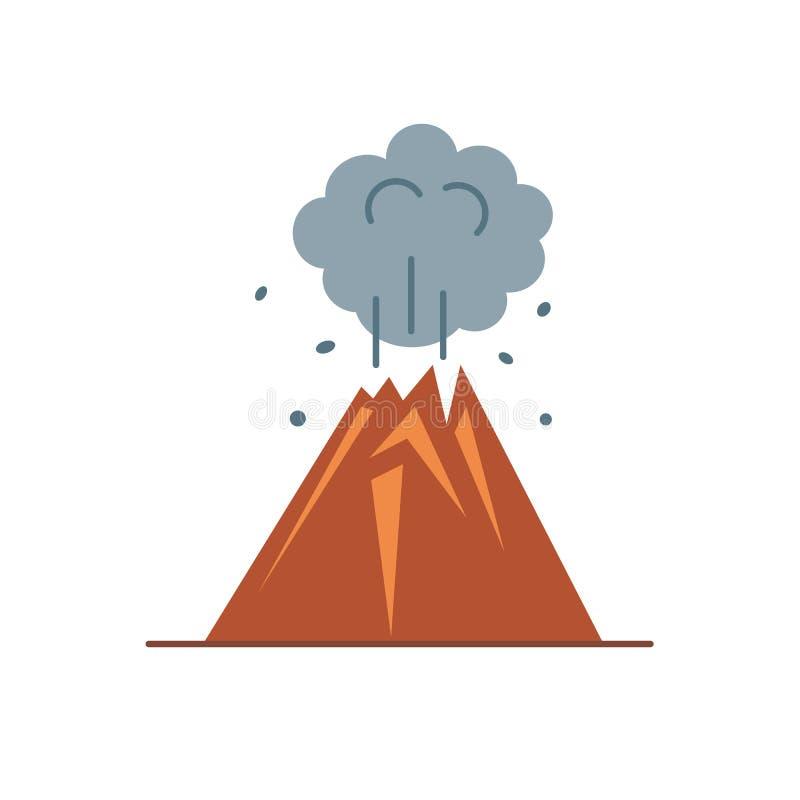 Icona del vulcano nello stile piano royalty illustrazione gratis