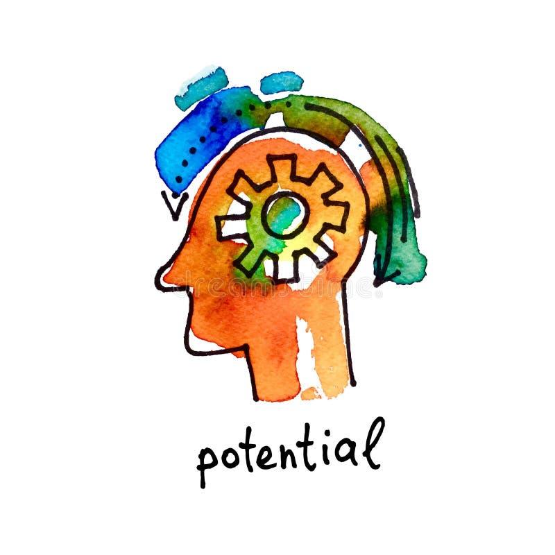Icona dell'acquerello di schizzo di potenziale, istruzione a distanza illustrazione vettoriale