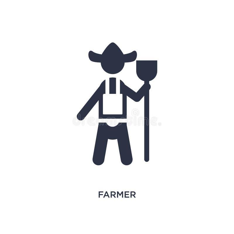 icona dell'agricoltore su fondo bianco Illustrazione semplice dell'elemento dall'agricoltura del concetto illustrazione di stock