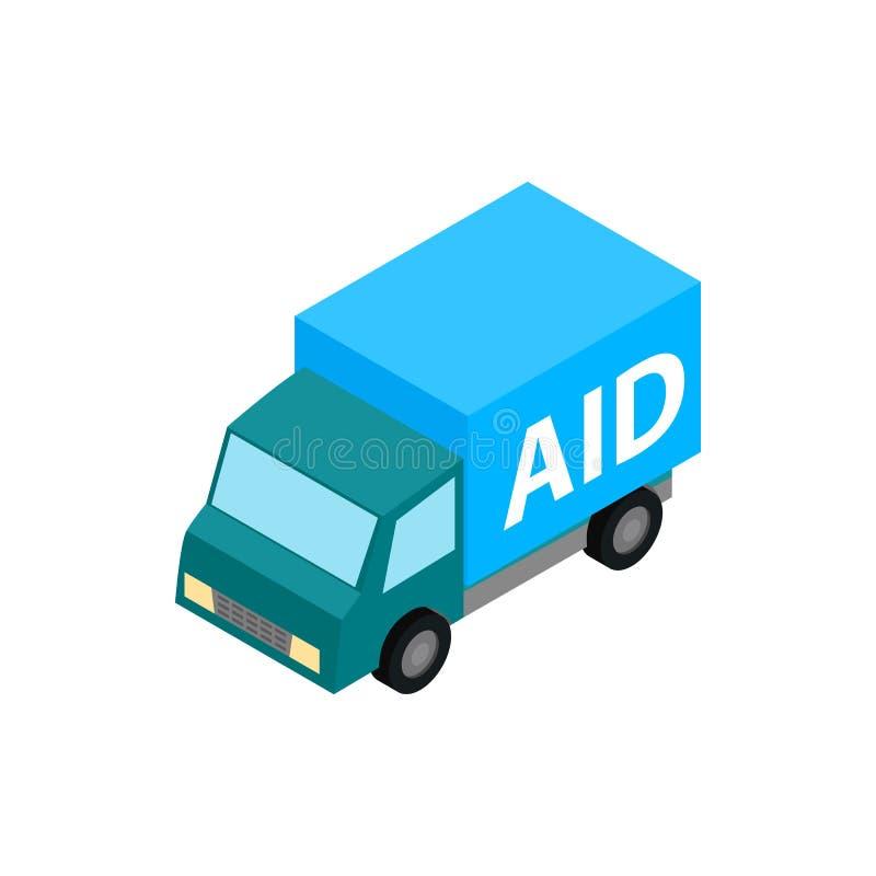 Icona dell'aiuto umanitario dell'automobile, stile isometrico 3d royalty illustrazione gratis