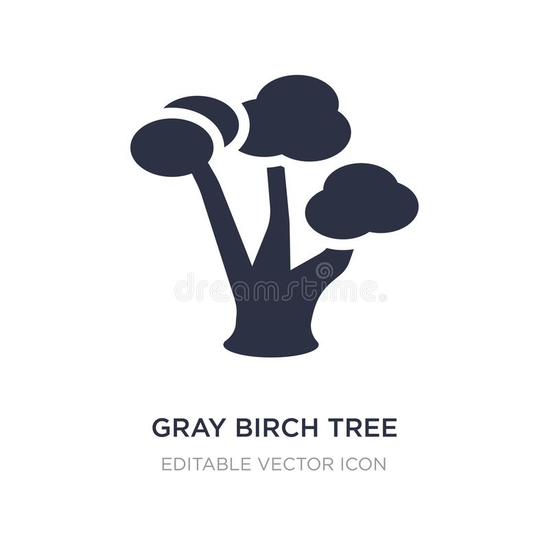 icona dell'albero di betulla grigia su fondo bianco Illustrazione semplice dell'elemento dal concetto della natura illustrazione di stock