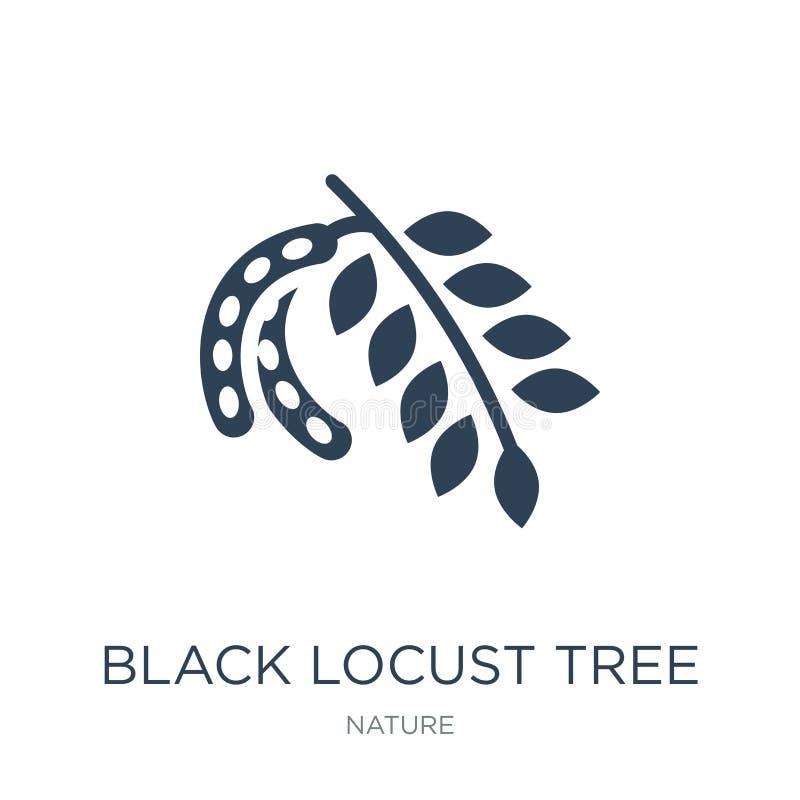 icona dell'albero di locusta nera nello stile d'avanguardia di progettazione icona dell'albero di locusta nera isolata su fondo b illustrazione di stock