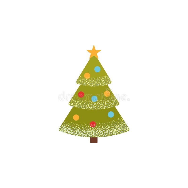 Icona dell'albero di Natale Illustrazione di vettore Pino dell'albero di abete in piano illustrazione vettoriale