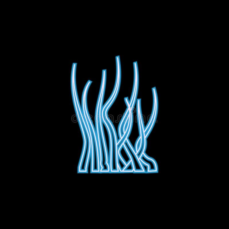 icona dell'alga nello stile al neon Uno dell'icona della raccolta degli animali di mare può essere usato per UI, UX illustrazione vettoriale