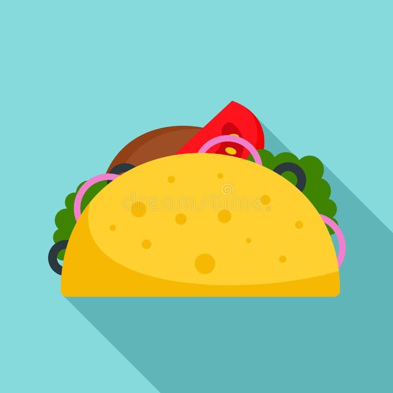 Icona dell'alimento del taco, stile piano royalty illustrazione gratis
