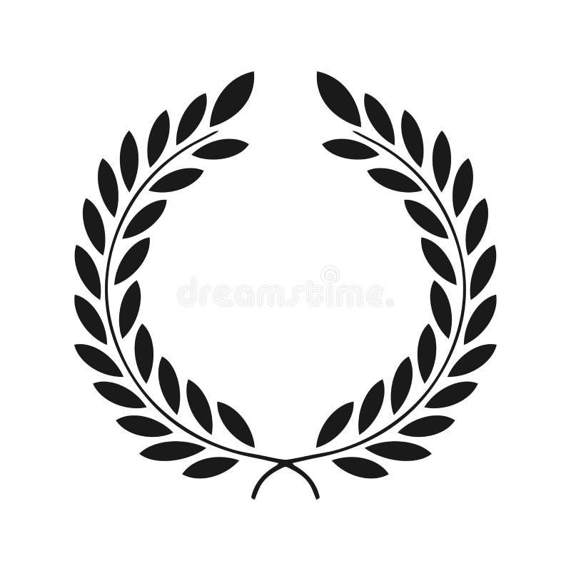 Icona dell'alloro isolata su fondo bianco Indicatore luminoso di vettore art Progettazione nera e scura Perfezioni per gli inviti illustrazione vettoriale