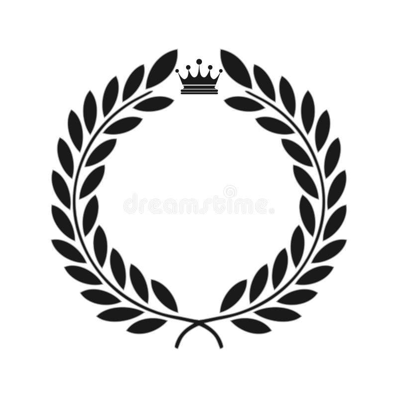 Icona dell'alloro isolata sui precedenti neri Indicatore luminoso di vettore art Progettazione del wtite e del nero Perfezioni pe illustrazione di stock