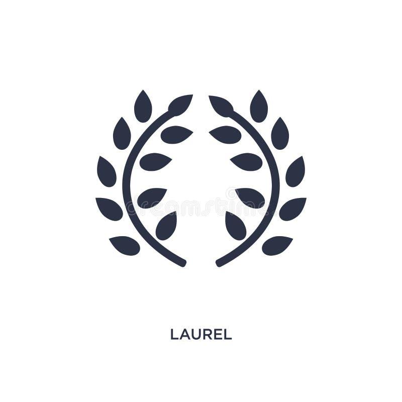 icona dell'alloro su fondo bianco Illustrazione semplice dell'elemento dal concetto della Grecia illustrazione di stock