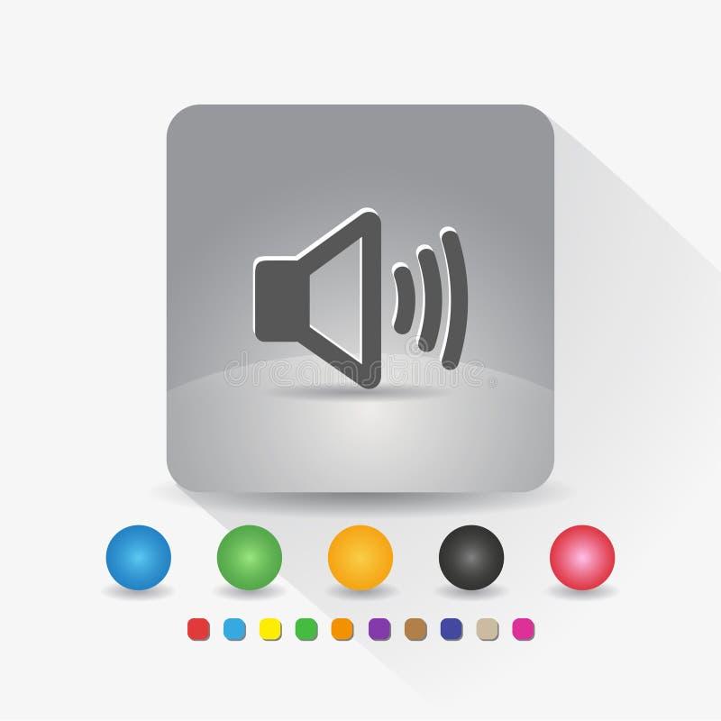 Icona dell'altoparlante App di simbolo del segno nell'angolo rotondo di forma quadrata grigia con l'illustrazione di vettore dell royalty illustrazione gratis