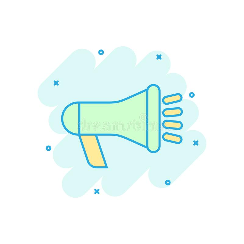 Icona dell'altoparlante del megafono nello stile comico Audio pittogramma dell'illustrazione del fumetto di vettore di annuncio d illustrazione di stock