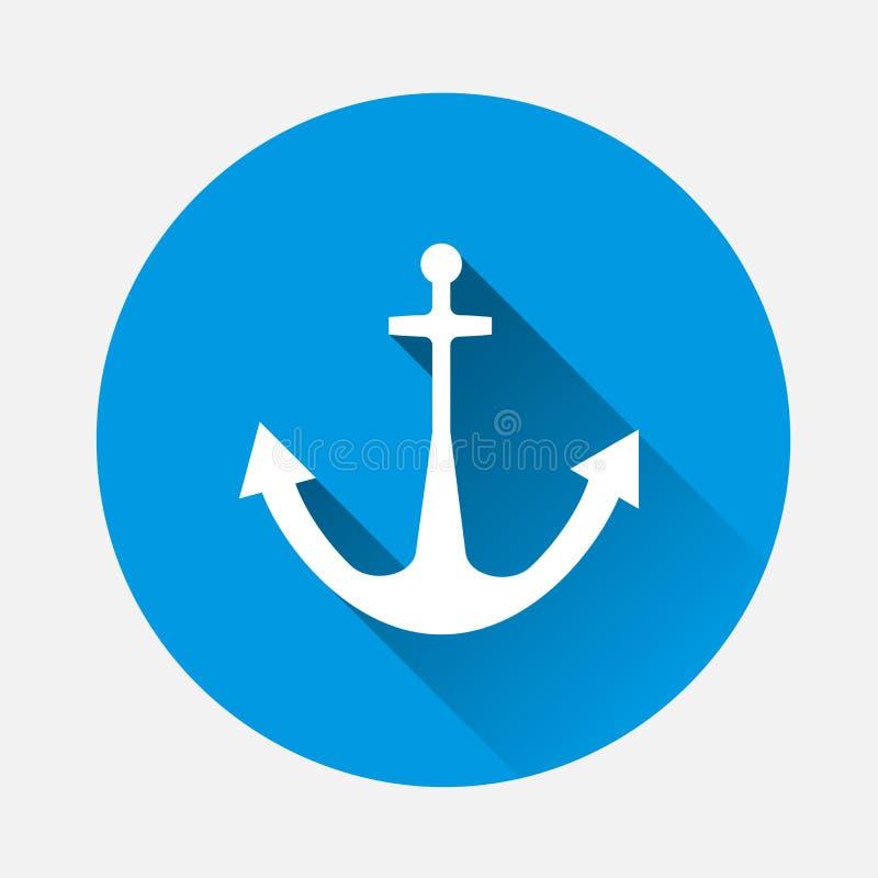 Icona dell'ancora Illustrazione di vettore su fondo blu Immagine piana royalty illustrazione gratis