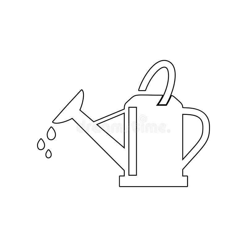 Icona dell'annaffiatoio del giardino Elemento del giardino per il concetto e l'icona mobili dei apps di web _profilo, sottile lin royalty illustrazione gratis