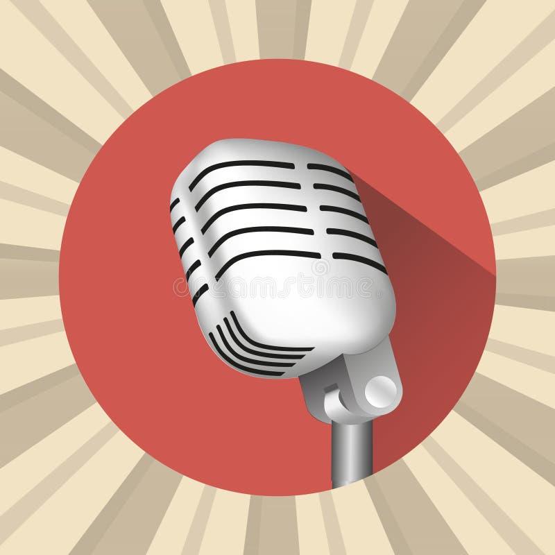 Icona dell'annata del microfono illustrazione vettoriale