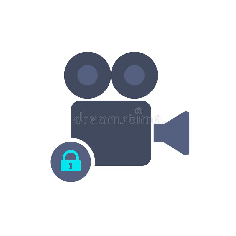 Icona dell'annotazione di film della serratura del film della macchina fotografica della camma illustrazione vettoriale