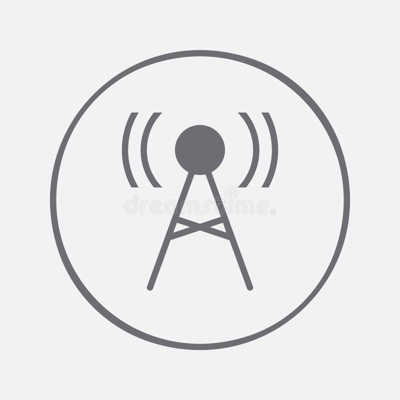 Icona dell'antenna Vettore del segno del trasmettitore, illustrazione solida, pittogramma isolato su gray illustrazione di stock