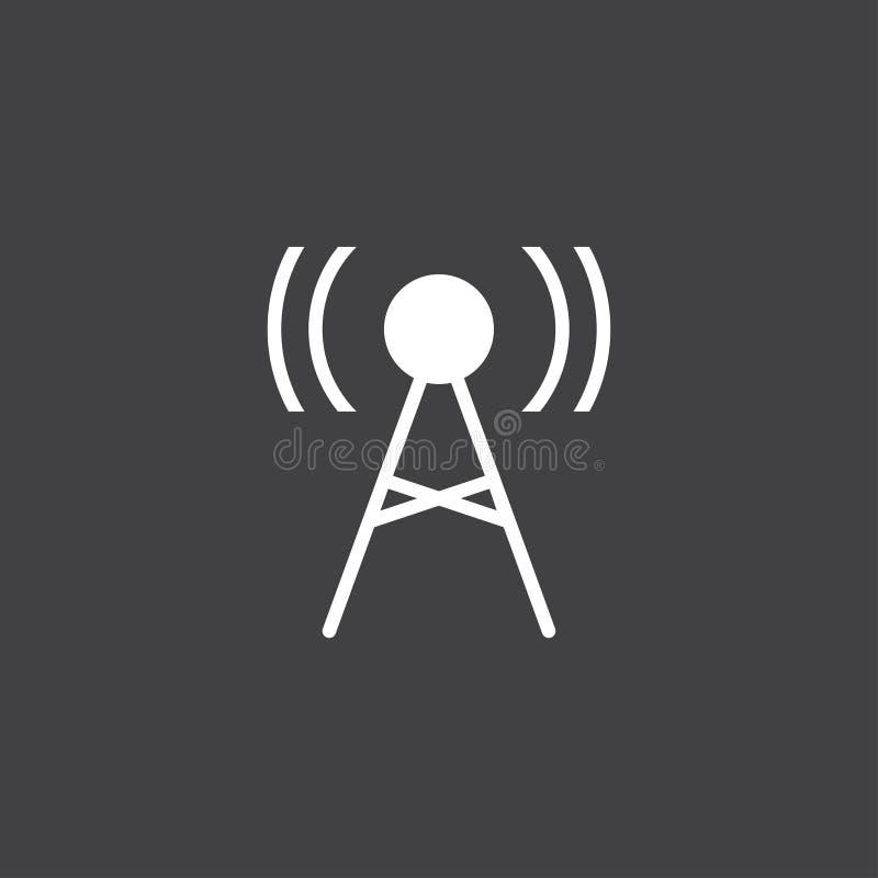 Icona dell'antenna Vettore del segno del trasmettitore isolato sul nero illustrazione vettoriale