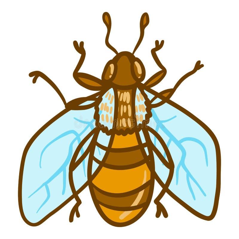 Icona dell'ape, stile disegnato a mano illustrazione di stock