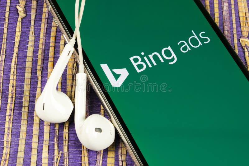 Icona dell'applicazione Bing sullo schermo Apple iPhone X Icona dell'app Bing ads Bing ads è un'applicazione pubblicitaria online immagine stock libera da diritti