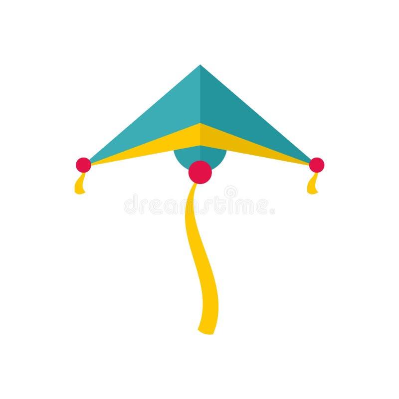 Icona dell'aquilone degli azzurri, stile piano illustrazione di stock