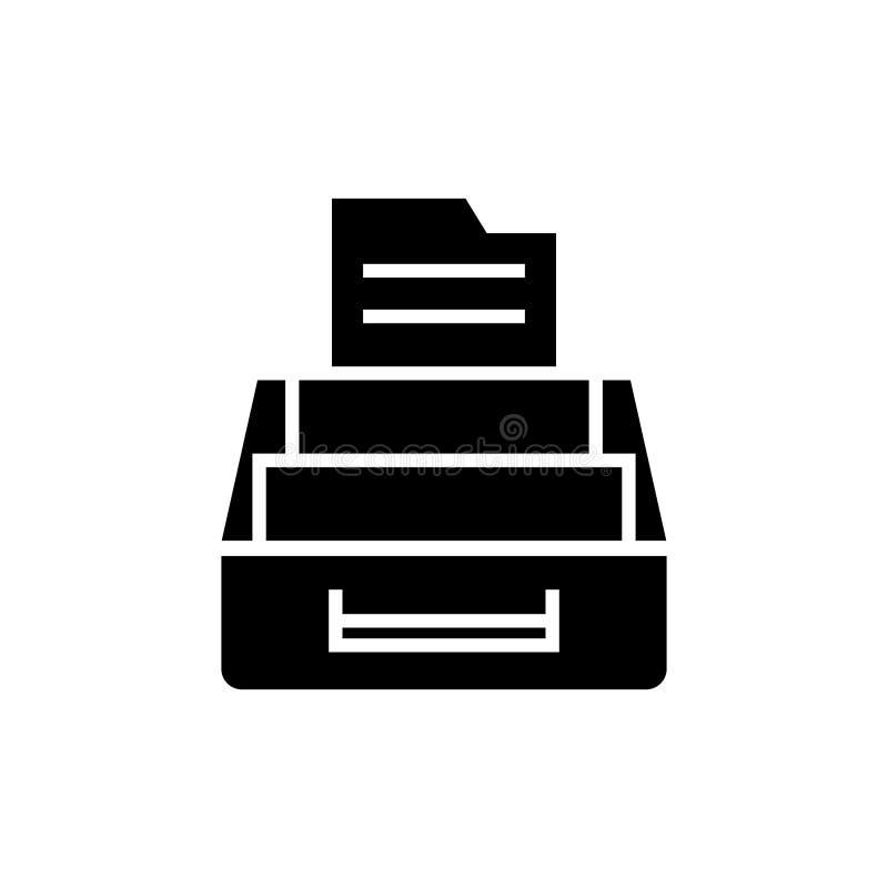 Icona dell'archivio documenti, illustrazione di vettore, segno nero su fondo isolato illustrazione di stock