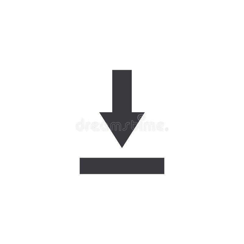 Icona dell'archivio dell'importazione Segno di download Simbolo di risparmio del documento Bottone dell'interfaccia Elemento per  illustrazione di stock