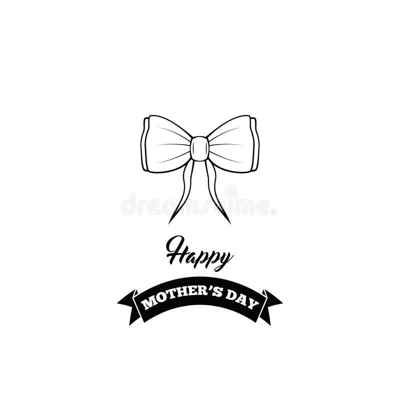 Icona dell'arco Giorno di madri felice Arco, nastri Progettazione della cartolina d'auguri Vettore illustrazione vettoriale