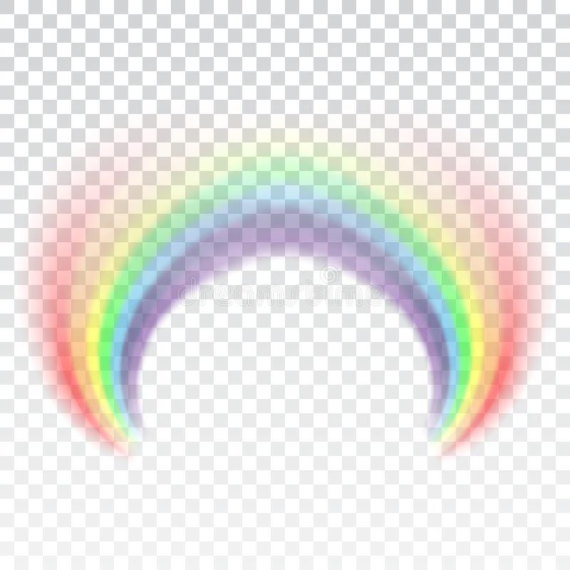 Icona dell'arcobaleno Modelli realistico dell'arco isolato su fondo trasparente bianco Luce variopinta ed elemento luminoso di pr royalty illustrazione gratis