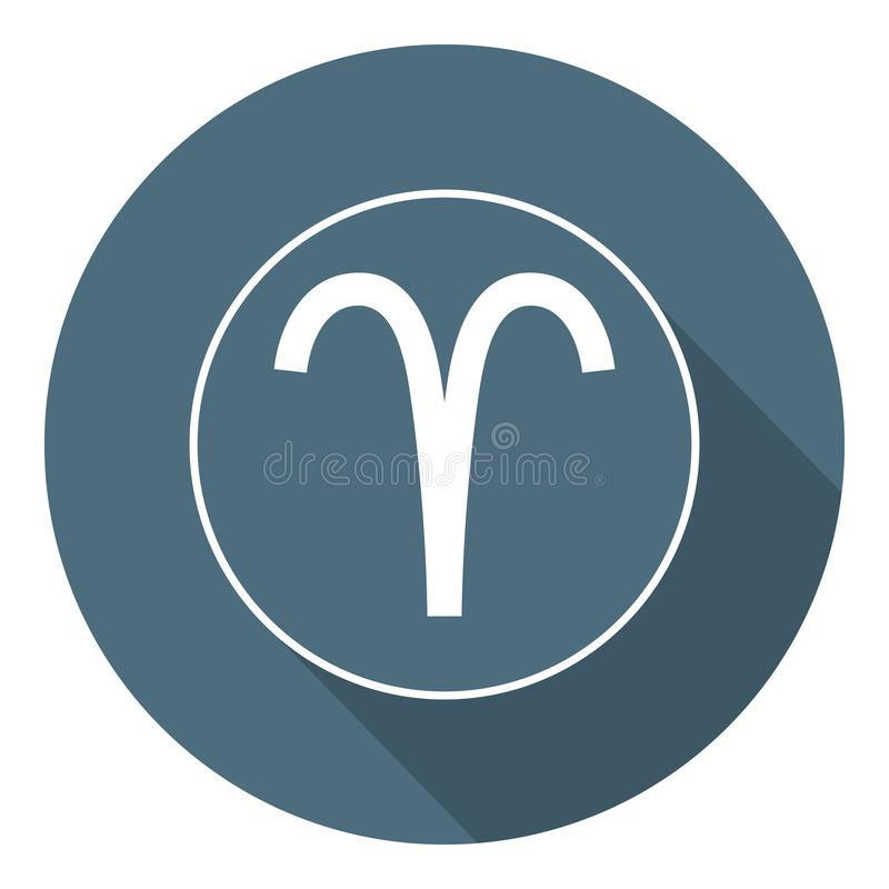 Icona dell'Ariete Vettore astrologico, segno dell'oroscopo Simbolo dello zodiaco Elemento dell'aria Stile piano autoadesivo Illus illustrazione di stock