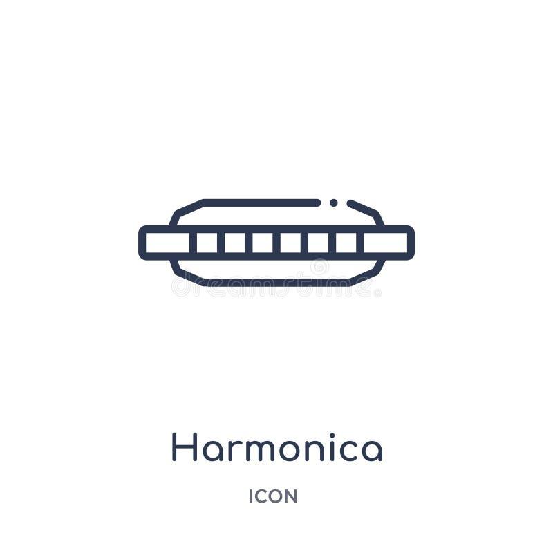 Icona dell'armonica dalla raccolta del profilo di musica Linea sottile icona dell'armonica isolata su fondo bianco royalty illustrazione gratis