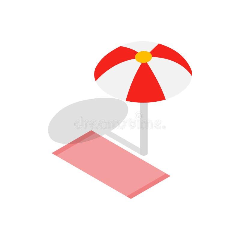 Icona dell'asciugamano e dell'ombrello di spiaggia, stile isometrico 3d illustrazione di stock