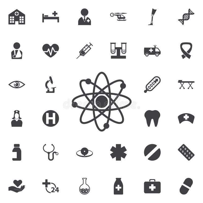 Icona dell'atomo Illustrazione di vettore, simbolo di scienza illustrazione vettoriale
