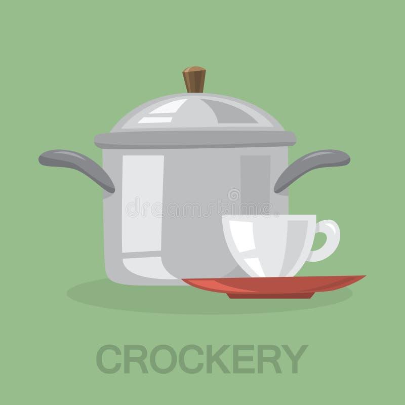 Icona dell'attrezzatura della cucina delle terrecotte Una tazza di ceramica royalty illustrazione gratis
